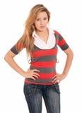 Young beautiful girl standing posing isolated stock photography