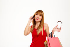 Young beautiful girl standing with purchases over white background. Stock Photos