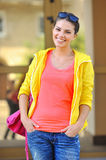Young beautiful girl at the street in casual clothes Stock Photos