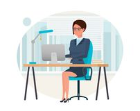 Girl, in strict clothes, working at computer in the office. Stock Image