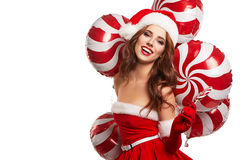 Young beautiful girl in the studio for the new year, christmas . Stock Photo