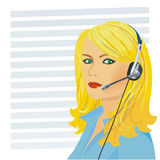 Young beautiful girl telephone operator. Beautiful young girl blonde telephone operator in headphones Stock Image