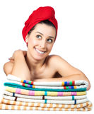 Young beautiful girl with towel on hair Royalty Free Stock Images