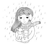 The young beautiful girl with two cute little kittens. Royalty Free Stock Photo