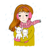 The young beautiful girl with two cute little kittens. Royalty Free Stock Images