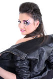 Young beautiful girl undress black leather jacket Stock Photos