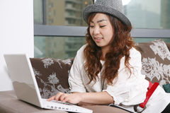 Young beautiful girl use pc Stock Image