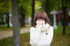 Young beautiful girl in warm sweater Royalty Free Stock Photography