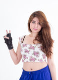 Young beautiful girl wearing floral top and gloves Royalty Free Stock Photography