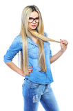 Young beautiful girl wearing glasses while posing isolated on wh stock images