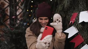 Young Beautiful Girl Wearing Winter Hat, Scarf, Mittens, Posing and Smiling, Making Selfie or Video Message, Standing stock footage