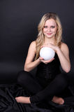 Young beautiful girl with white ball Stock Photos