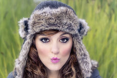 Young beautiful girl with winter clothes Stock Photos