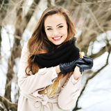 Young beautiful girl winter portrait Royalty Free Stock Images
