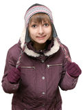 Young beautiful girl in winter to jacket and hat Royalty Free Stock Photos