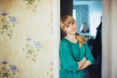 Young Beautiful Girl Woman At Home Stock Photo