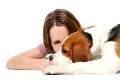 Young and beautiful girl woth dog Stock Images