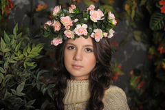 Young beautiful girl with a wreath Stock Image