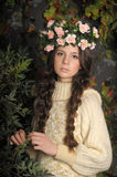Young beautiful girl with a wreath Stock Photo