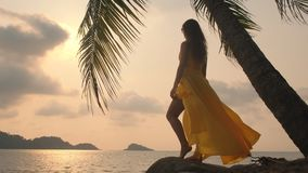 Young beautiful girl in yellow dress looking into the sea. Ocean.