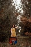 Young beautiful girl in a yellow vintage dress posing on a muddy country road with a retro suitcase in hand. Young beautiful girl in a yellow vintage dress stock images