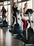Young beautiful girls exercising in the gym with ski machine royalty free stock photos
