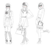 Young beautiful girls fashion illustration Royalty Free Stock Images