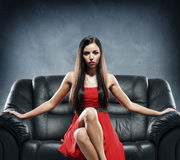 Young, beautiful and glamour woman in red dress Royalty Free Stock Photos