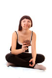 Young beautiful glutton eat chocolate isolated. On white stock image
