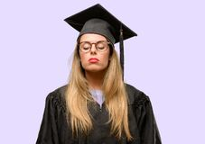 Young beautiful graduate woman student royalty free stock photos