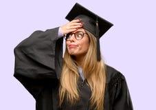 Young beautiful graduate woman student stock photos