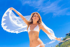 Young beautiful happy bride in white bikini  Royalty Free Stock Photo