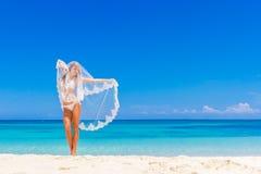 Young beautiful happy bride in white bikini  Stock Photo