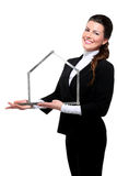 Young beautiful happy business woman house symbol Royalty Free Stock Photo