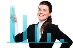 Young beautiful happy business woman showing digital charts Royalty Free Stock Photo