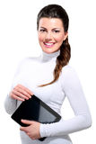 Young beautiful happy business woman with tablet Royalty Free Stock Images