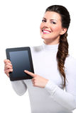 Young beautiful happy business woman with tablet Stock Image