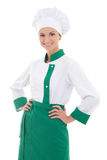 Young beautiful happy chef woman in uniform isolated on white Stock Image