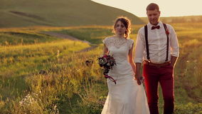 Young  beautiful and happy couple bride  and groom stock video footage