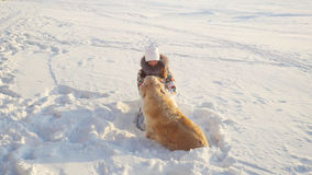 Young beautiful happy girl plays with a retriever dog in the snow in winter in sunny day during sunset time Stock Photography