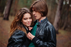 Young beautiful happy loving couple on the walk Royalty Free Stock Images