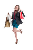 Young, beautiful and happy shopping lady Stock Photo