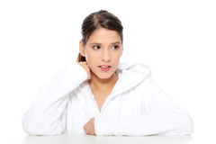 Young beautiful happy woman in bathrobe Stock Photo