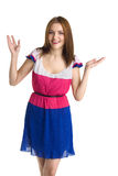 Young beautiful happy woman in colored dress Royalty Free Stock Image