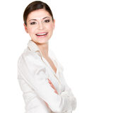 Young beautiful smiling woman in white office shirt Stock Images