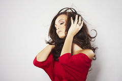 Young beautiful happy women listening music Royalty Free Stock Images