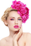 Girl with peonies Royalty Free Stock Photos