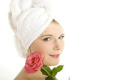 Young beautiful healthy woman with pink rose Stock Photo