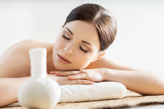 Young, beautiful and healthy woman in spa salon Stock Photos
