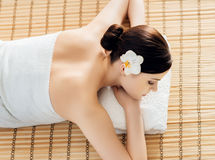 Young, beautiful and healthy woman in a spa salon Stock Images